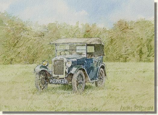 Watercolour painting Austin 7