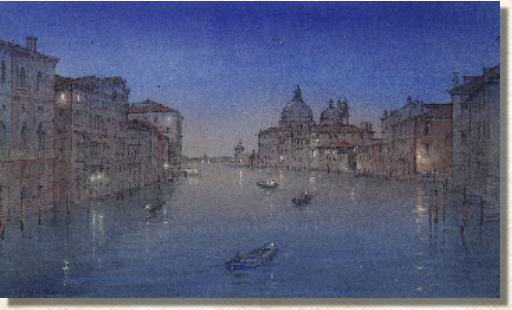 twilight scene on the Grand Canal Venice
