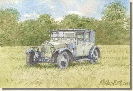 Watercolour Rolls Royce in field